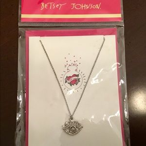 "Betsey Johnson ""Bling"" Card & Silvertone Necklace"